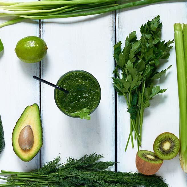 Petersilie und grüne Lebensmittel